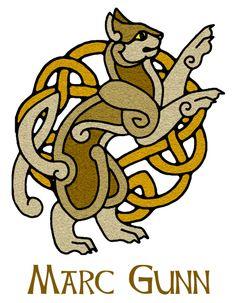 Make the kitty black with white highlights. Official logo of Celtic musician, Marc Gunn. Celtic Music, Celtic Symbols, Celtic Art, Celtic Knots, Celtic Patterns, Celtic Designs, Costume Viking, Celtic Animals, Eslava
