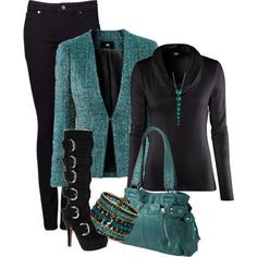 """""""Beaded Cuff"""" teal and black combo"""