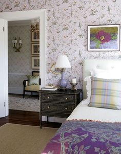Historic greek revival home for sale in Bellport, New York. A centery summer home restored Jamie Drake, a Manhattan art dealer. Cole And Son Wallpaper, Bedroom Color Schemes, Motif Floral, Dream Bedroom, Pretty Bedroom, Beautiful Bedrooms, Traditional House, Bed Design, House Colors