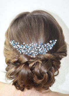 Blue Bridal Headpiece Crystal Wedding Hair Piece by NovaHandmade