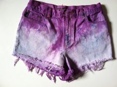 White Blue Purple HIGH WAISTED Tye Dye Shorts Size 4. $18.00, via Etsy.