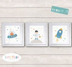 Outer Space 3 Print Set Childrens / Art Nursery By DottyMoonDesign Part 76