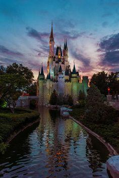 Cinderella Castle at Dusk.
