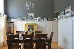 Behr Dark Ash Dining Room : Hello Newman's added board and batten with a picture ledge to their dining room. The new molding looks amazing and I am loving the dark charcoal walls with silver and yellow accents. The paint color is Behr Dark Ash. Grey Paint Colors, Gray Paint, Wall Colors, House Colors, R80, Grey Room, Board And Batten, Wainscoting, Shiplap Bathroom