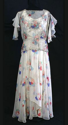 Beaded chiffon evening dress, circa 1930, from the Vintage Textile archives.