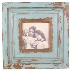 "Distressed wood picture frame.   Product: Picture frameConstruction Material: Wood and glassColor: BlueAccommodates: Holds one 5"" x 5"" photoDimensions: 11"" H x 11"" W x 0.5"" D"