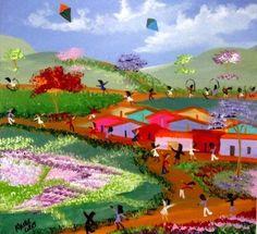 MEIRE LOPES TEMA BRINCADEIRA DE CRIANÇAS A VEDNA COM AJUR SP (Painting),  40x40 cm por Arte Naif AJUR SP VENDEDOR E DIVULGADOR DA ARTE NAIF BRASILEIRA