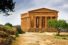 Ancient Greek Temple of Concord in the Valley of the Temples in Agrigento