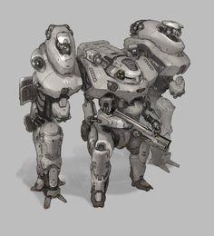 power armor, Prog Wang on ArtStation at https://www.artstation.com/artwork/power-armor-b2900a9f-8a92-4fe8-bf3e-34705803a206