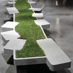 Bench with grass - nice way to bring the outside in :)