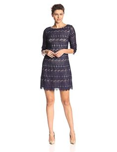 Jessica Howard Women's 3/4 Sleeve Lace Shift Dress, Navy, 12 Jessica Howard http://smile.amazon.com/dp/B00OVCNO92/ref=cm_sw_r_pi_dp_4JpWub14C09EC