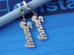 c76d023d3 Personalized 925 Silver Name Earrings Any Language Dangling Sann, Name  Earrings , Personalized Jewelry , by Israel Depot, Personalized Name  Earrings made ...