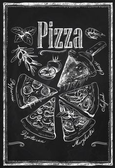 Kitchen Chalkboard-Chalkboard Pizza Types by TimelessMemoryPrints