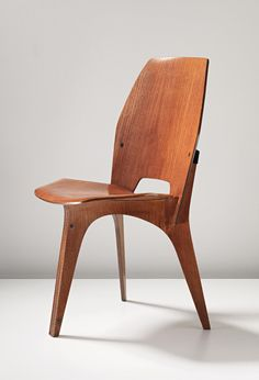 Eugenio Gerli; Teak-Veneered Plywood Chair for Tecno, c1958.