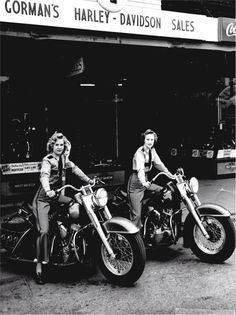 """""""This is my grandmother and her friend on her new '49 Panhead. While those look like traffic police uniforms, they were actually the uniform of the club she was in, called the Motormaids."""" What an awesome picture, and a badass grandmother."""