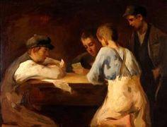 '' Boys playing cards '' Spyros Vikatos (1878-1960)