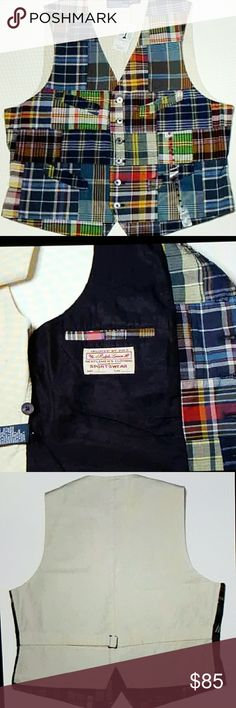 Mens Ralph Lauren Polo Madras Vest Size Medium Polo by Ralph Lauren Madras Vest Size Men's Medium 100% cotton front body, 100% cotton back body Four pocket design--two on each side of the chest, and two at lower front Adjustable tie and buckle in the back Multi-color patchwork madras front, cream colored back, cream and navy blue inner lining Six button front 21 inches armpit to armpit measurement 21 3/4 inches down the center back; a little longer in the front at 23 3/4 inches Polo by Ralph…