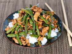 Chinese Green Beans with Ground Turkey over Rice (Needs help but very good when it gets it -more oil if you use turkey -half the meat and replace with green beans -at least half again as much off all seasoning, maybe twice -use thawed frozen bean,frenched are great. ELI)