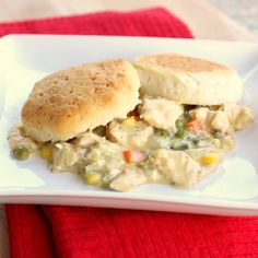 Slow cooker Chicken pot pie. Good idea, but I'd use frozen biscuits as the flavor is better, and I might use part of a jar of alfredo sauce along with the soup, plus fresh herbs...