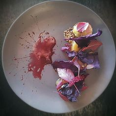 Pork ras el hanout- Cured jowl - Buckwheat - Red Cabbage - Burnt golden kiwi - Whey gastrique - Amaranth by @jacopocrosti  Tag your best plating pictures with #armyofchefs to get featured.  - find more inspiration on www.kochfreunde.com