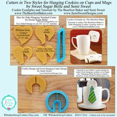 Cutters for Hanging Cookies on Cups and Mugs by Sweet Sugar Belle and Semi Sweet