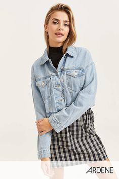 [Ardene] - Exclusive piece from our EightyTwo Denim collection. Model is wearing size S. Free Clothes, Denim Skirt, Fashion Outfits, Breast, Long Sleeve, Classic, Model, Cotton, Jackets