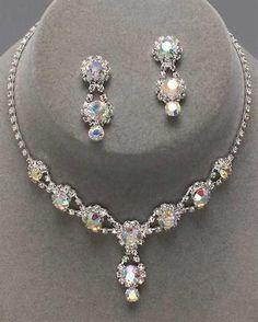 Drop Iridescent Rhinestone Necklace Set at PromDressShop.com