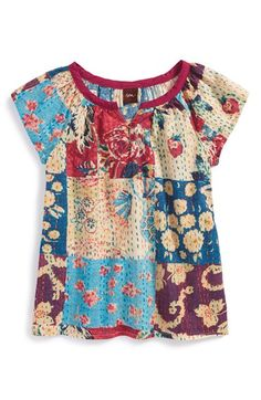 Tea Collection 'Patchwork Kantha' Cotton Tunic (Baby Girls) | Nordstrom