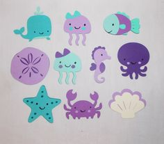 Large UNDER the SEA Die cut Choose all 1 kind or any MiX Whale Jellyfish Fish Seahorse Octopus Crab Shell Starfish Cut Out Buy More and SAVE