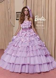 Barbie Bride Wedding Gown with Ruffle and purple colour