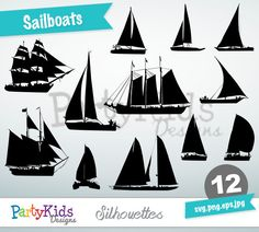 Sailboats Silhouettes, SVG Sailboats, Instant Download, svg, png, jpg and eps file types included, PS-320.