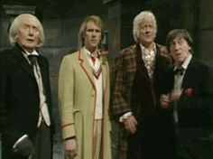 2 hiding behind 3 and doing the famous Troughton :( face is cracking me up. Its 11 PM, Im supposed to be sleeping bu t oH mY GoD I cann ot Matt Smith, John Smith, Fifth Doctor, Doctor Who 10, Catherine Tate, Christopher Eccleston, Rory Williams, Donna Noble, Billie Piper