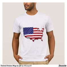 United States Map in 3D T-Shirt