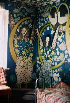 angel idea sitting on moon as swing and hanging from a tree branch. Painted wall by Polina Raïko (born 1928 as Pelageya Andreyevna; died from Tsyuryupinsk, in the dusty, remote Kherson region of the Ukraine, not far from the Black Sea coast. Mural Art, Wall Murals, Fresco, Illustration, Naive Art, Wall Treatments, New Wall, Art Plastique, Wall Wallpaper