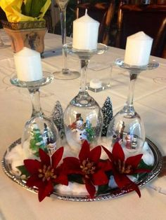 Easy DIY Christmas centerpiece idea - wine glasses upside down - LOVE it!