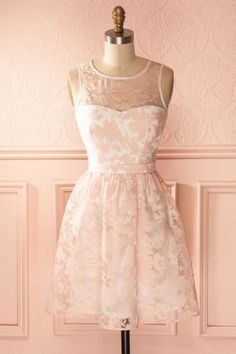 A-Line Crew Open Back Short Pearl Pink Lace Homecoming Dress,130