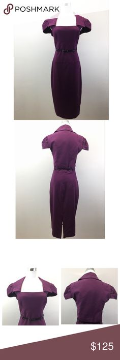 """Black Halo $375 NWT Retro 50's Plum """"Jacket"""" Dress Condition: New with tags Classic sheath dress made of durable, finely woven gabardine.  Bodice features cap sleeves, fold over collar, and a squared neckline that give the illusion of a cropped jacket.  A corset waist & pencil skirt. Includes a 3/8"""" genuine leather belt.  Dress has a side bodice invisible zipper & falls 43"""" from the shoulder.  Fully lined.   Approximate measurements taken flat: Bust (underarm to underarm): 18"""" Waist: 15.5""""…"""