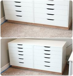Ikea cabinets made into built-ins. LOVE.  @Shelley Smith