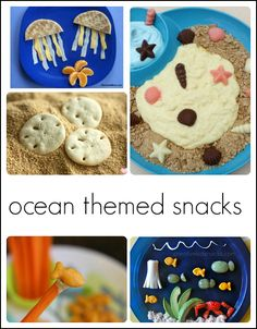 35 awesome ideas for a kindergarten or preschool ocean theme. Includes arts and crafts, literacy, Preschool Cooking, Preschool Snacks, Preschool Themes, Classroom Snacks, Preschool Crafts, Snacks Kids, Preschool Literacy, Ocean Theme Snacks, Ocean Themes