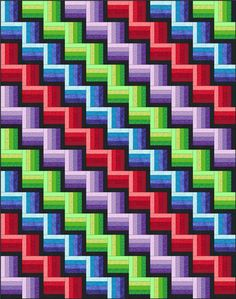 jellyroll quilts The Rail Fence Quilt Pattern: Classic lines, e Beginner Quilt Patterns, Patchwork Patterns, Patchwork Quilting, Quilting For Beginners, Quilt Block Patterns, Quilting Tutorials, Pattern Blocks, Quilting Projects, Quilting Designs