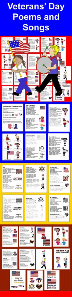 $3.00 Veterans' Day Songs and Poems and Finger Puppets  - 23 Page Download –2 versions of each song/poem –  Color and B/W – 13 Patriotic Songs/Poems at a variety of levels to sing to popular children's songs.  6 finger puppets. Poems all are decorated with Patriotic graphics.