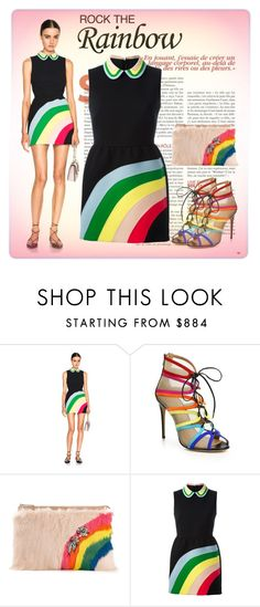 """""""Rainbow Style"""" by elena-indolfi ❤ liked on Polyvore featuring RED Valentino, Salvatore Ferragamo, colorblock, fashionstyle, summerfashion, fashiontrend and RockTheRainbow"""