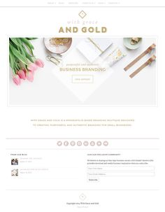 Feminine website design for a design boutique that focuses on creating purposeful and authentic branding for creative business owners. Using Jacqueline responsive feminine WordPress theme by Bluchic.