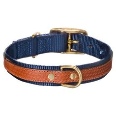 Leather dog collar with brass hardware.   Product: CollarConstruction Material: Leather and nylonColor: