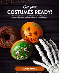 Spirit Halloween, Halloween Costumes, Krispy Kreme, Doughnut, Food, Meals, Halloween Outfits