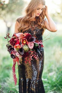 [tps_header]Fall wedding are very romantic and so beautiful! Just look at all those colors – red, orange, purple, pink and yellow! And a fall wedding bouquet Fall Bouquets, Fall Wedding Bouquets, Fall Wedding Flowers, Floral Wedding, Wedding Colors, Wedding Styles, Fall Flowers, Winter Bouquet, Sequin Wedding