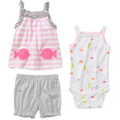 Child of Mine by Carters Newborn Girls' 3 Piece Fish Shirt, Bodysuit and Short Set: Baby Clothing : Walmart.com