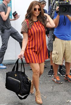 Cameo Kavinsky Dress in Stripe and Latte Netting as Seen On Kourtney Kardashian