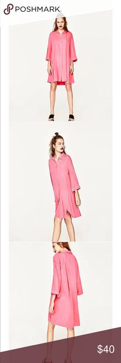 NWT Zara Flowing Swing Dress In Bubblegum Pink Oversized a line dress in bright Barbie bubblegum pink. Size medium but can easily fit a large Zara Dresses Mini