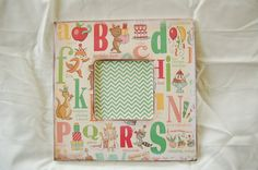 vintage inspired kids room decor picture frame by scrapartbynina, $20.00